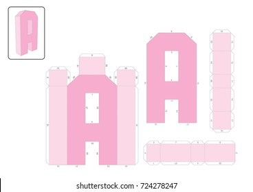 A Alphabet paper model template, cut out and glue with numbers marked into a 3D model.