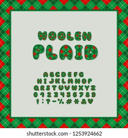 Alphabet plaid design. Letters, numbers and punctuation marks. EPS 10