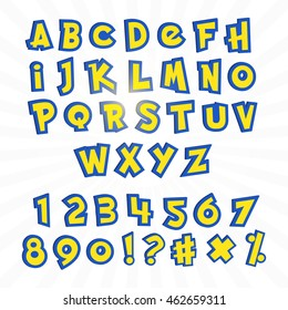 Alphabet in pokemon cartoon style on white. Typography element template for banners and game assets.