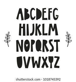 Alphabet poster for baby room, greeting card, print on the wall, pillow, decoration kids interior, baby wear and t-shirts