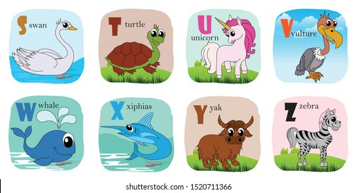 Alphabet printable flashcards vector collection with letter S to Z. Cute vector Zoo alphabet with animals in cartoon style. swan, turtle, unicorn, vulture, whale, xiphias, yak, zebra. vector - eps10