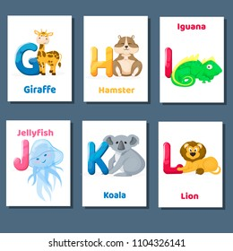 Alphabet printable flashcards vector with letter G H I J K L. Zoo animals for english language education. Kindergarten abc poster cards with alphabet letters for preschool kids homeschooling.