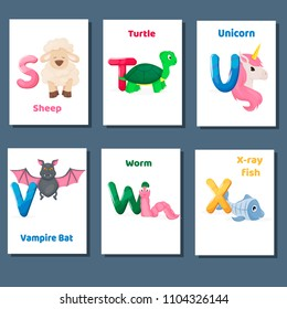 Alphabet printable flashcards vector with letter S T U V W X. Zoo animals for english language education. Kindergarten abc poster cards with alphabet letters for preschool kids homeschooling.
