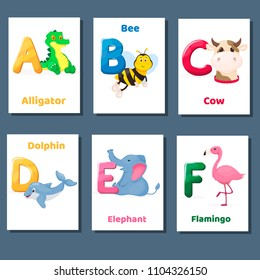 Alphabet printable flashcards vector with letter A B C D E F. Zoo animals for english language education. Kindergarten abc poster cards with alphabet letters for preschool kids homeschooling.