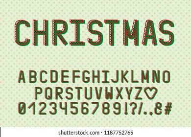 Alphabet retro design. Christmas color style. English letters, numbers, punctuation marks. Monospaced font vector typography. EPS 10