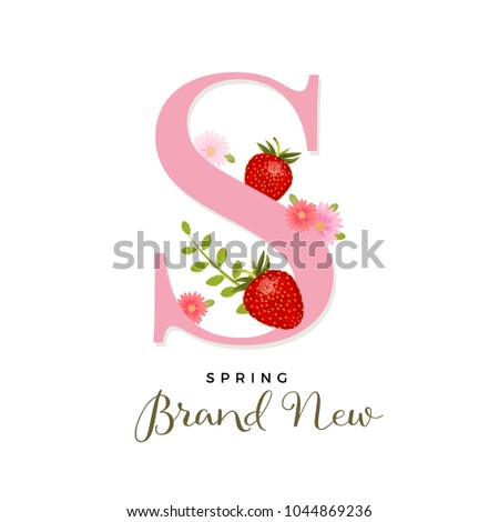 Alphabet s realistic vector strawberries spring stock vector alphabet s with realistic vector strawberries spring design with strawberries and pink flowers beautiful mightylinksfo