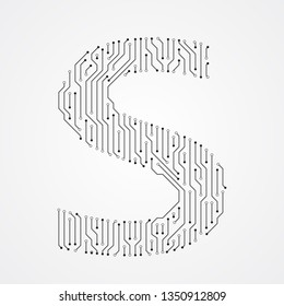 Alphabet S shape digital line design