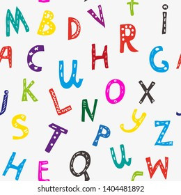 Alphabet seamless pattern. Vector graphic illustration