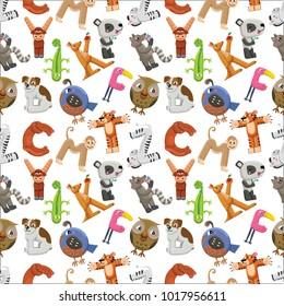 Alphabet seamless pattern. Zoo alphabet wih different animals.