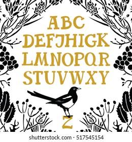 Alphabet Serif font Floral frame and Magpie