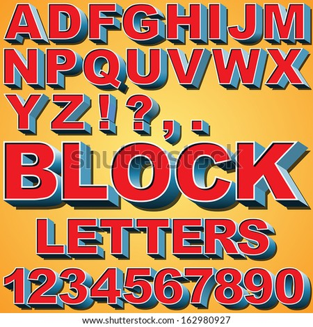 Alphabet Set 3 D Block Letters Numbers Stock Vector Royalty Free
