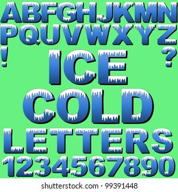 An Alphabet Set of Cold Letters and Numbers with Snow and Ice. New EPS 10 version now available see portfolio.