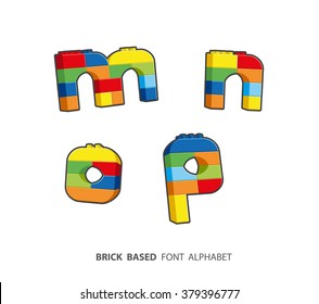 Alphabet set created from playing bricks. Lower case letters