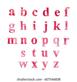 Alphabet set drawn watercolor artistic font. Red pink vector