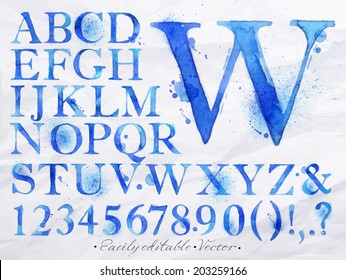 Alphabet set drawn watercolor blots and stains with a spray blue color. Vector