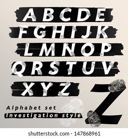 Alphabet set investigation and evidence style, Vector illustration.