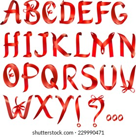 Alphabet set made of red ribbons, vector graphic