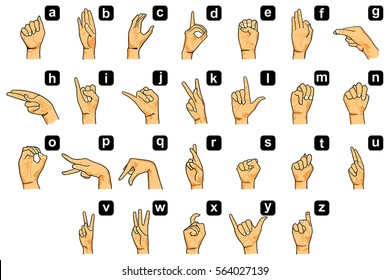 Alphabet signs and signals language English finger spelling for all letters