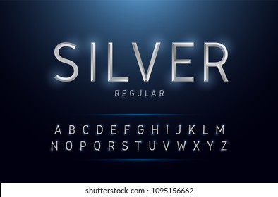 Alphabet silver metallic and effect designs. Exclusive letters typography regular font digital, technology and sport concept. vector illustrator
