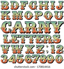 An Alphabet Sit of Carnival, Circus, Funfair, Fishtail Letters and Numbers
