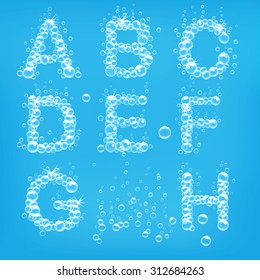Alphabet of soap bubbles vector illustration