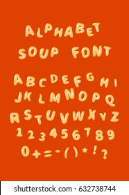 Alphabet soup font, latin letters on red
