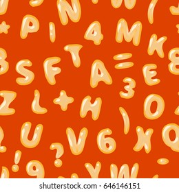 Alphabet soup latin letters on red seamless pattern