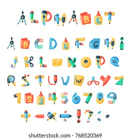 Alphabet stationery letters vector abc font alphabetic icons of office supply and school tools accessories for education pencil or pen alphabetically isolated on white background illustration