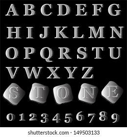 Alphabet stone style. Vector illustration.