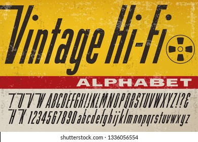 An alphabet in the style of early stereo hi-fi product packaging from the 1950s and 1960s.