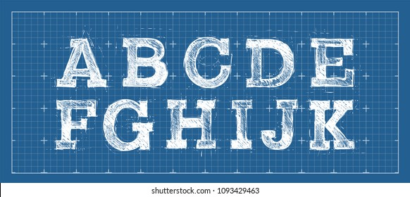 Alphabet in style of a technical drawing. Hand line abc set. Sketched font. Vector illustration.