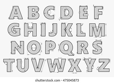 Alphabet in style of a technical drawing on a white background. Letters to the dimension lines for the architecture or engineering. Vector illustration