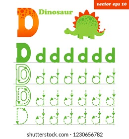 Alphabet tracing letter D worksheet for preschool kids to improove writing skills. Educational game with funny flat style dinosaur. Element for book illustration, study programms, posters and memo car