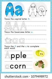 Alphabet Tracing Worksheet. Alphabet activity for pre schoolers and kindergarten A-Z.English activity for kids. A4 paper ready to print.