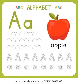 Alphabet tracing worksheet for preschool and kindergarten. Writing practice letter A. Exercises for kids. Vector illustration