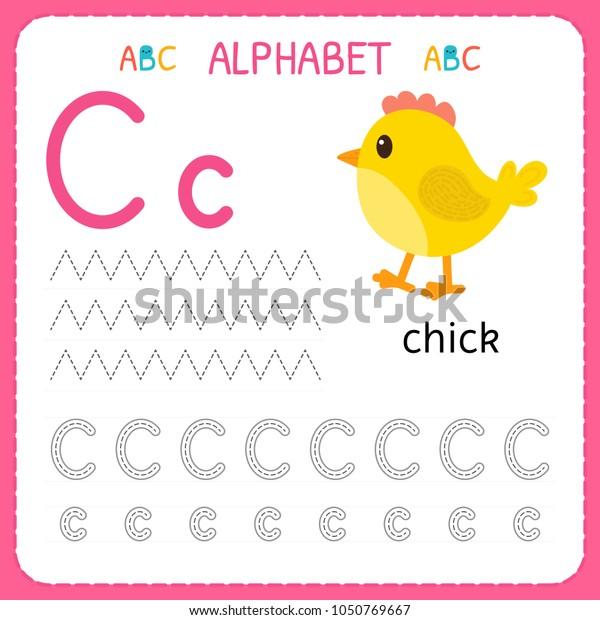 Alphabet Tracing Worksheet Preschool Kindergarten Writing Stock Vector  (Royalty Free) 1050769667