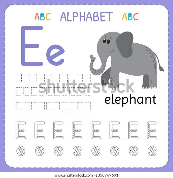 Alphabet Tracing Worksheet Preschool Kindergarten Writing Stock Vector  (Royalty Free) 1050769691