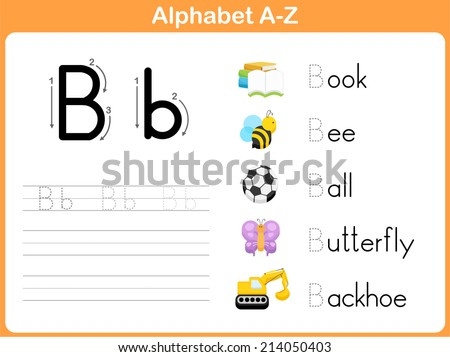 Alphabet Tracing Worksheet Writing Az Stock Vector Royalty Free