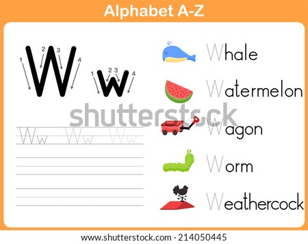 Alphabet Tracing Worksheet Writing AZ Stock Vector (Royalty Free ...