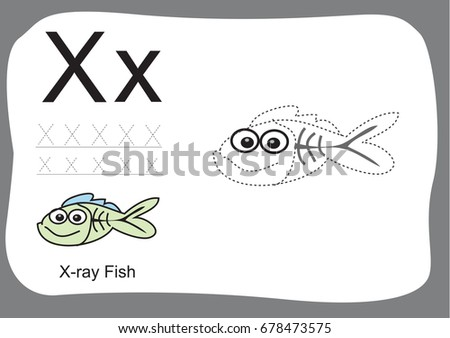 Alphabet Tracing Worksheets Cartoon Coloring Book Stock Vector