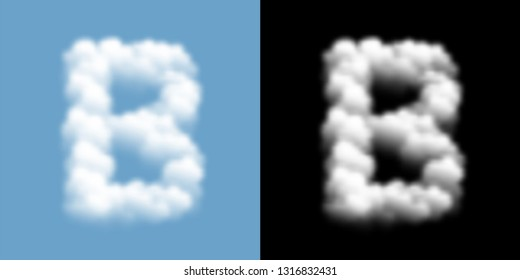 Alphabet uppercase set letter B, Cloud or smoke pattern, illustration isolated float on blue sky background, with opacity mask, vector eps 10