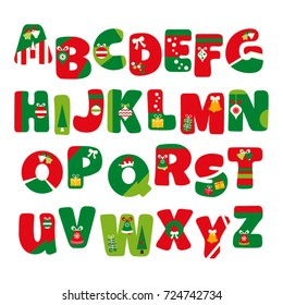 Alphabet vector in Christmas theme. Red and green uppercase letters A to Z.