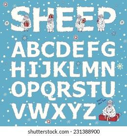 alphabet vector kids sheep letter new year christmas