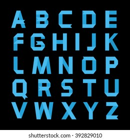 Alphabet vector .Paper blue ribbon alphabet.Vector Alphabet isolated.Vector Alphabet flat style.Vector Color bright Alphabet.Vector font isolated on a black background.Vector Type