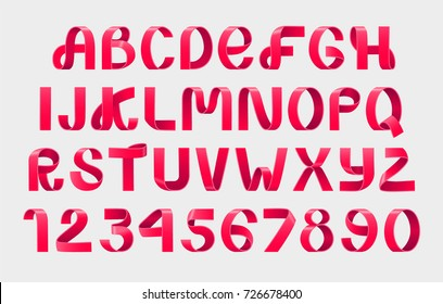 Alphabet Vector of paper folding. Red Ribbon script font. Vector alphabet of modern stylized paper font. Alphabet letters. 3d set. Elements design. Christmas celebration logo.