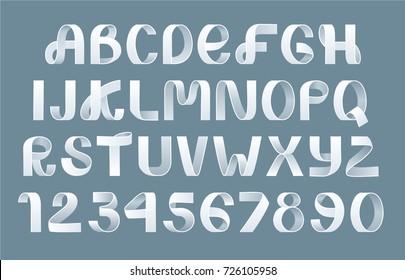 Alphabet Vector of paper folding. Ribbon script font. Vector of modern stylized paper font. Alphabet letters. 3d alphabets set. Elements design