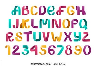 Alphabet Vector of paper folding. Ribbon script font. Vector of modern stylized paper font. Alphabet letters.3d set. Elements design.Vector typography for flyers, headlines, posters.3d elements design