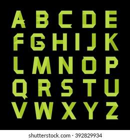 Alphabet vector .Paper green ribbon alphabet.Vector Alphabet isolated.Vector Alphabet flat style.Vector Color bright Alphabet.Vector font isolated on a black background.Vector Type.Green alphabet