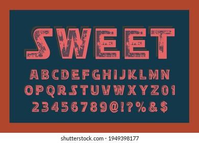 alphabet vintage font, typeface design, red and orange vector background
