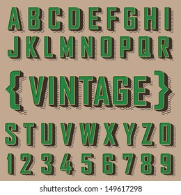 Alphabet vintage style. Vector illustration.
